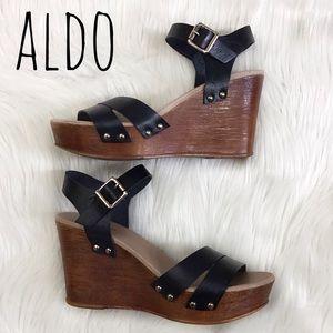 Aldo EOWOWIA Quarter Strap Wedge Black Sz 8